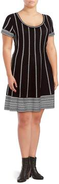Alexia Admor Women's Short-Sleeve Sweater Dress - Black White, Size 3x (22-24)