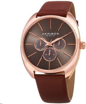 Akribos XXIV Mens Brown Strap Watch-A-998rgbr