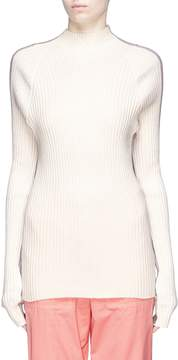 Bassike Contrast back rib knit turtleneck sweater
