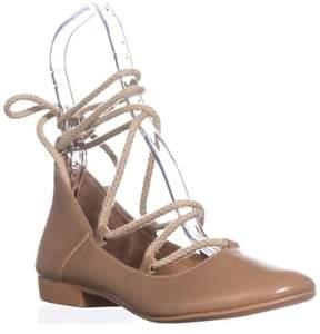 Kelsi Dagger Brooklyn Deandra Lace Up Ballet Flats, Camel.