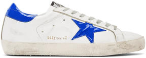 Golden Goose Deluxe Brand White and Blue Superstar Sneakers