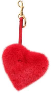 Anya Hindmarch Heart Mink Fur Bag Charm