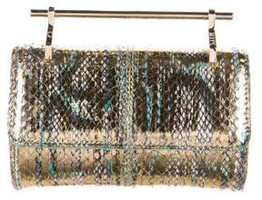 M2Malletier Mini Fabricca Metallic Snakeskin Satchel