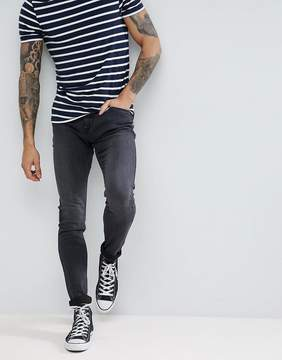 Lee Malone Power Stretch Black Worn Super Skinny Jean