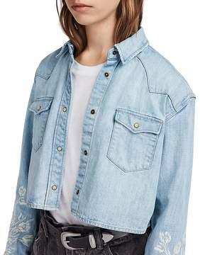 AllSaints Flora Cannon Embroidered Denim Western Shirt