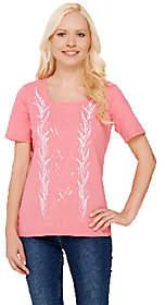 Bob Mackie Bob Mackie's Short Sleeve Sequin & EmbroideredKnit T-shirt