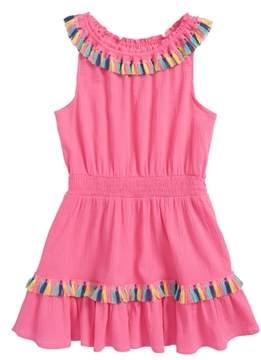 Flapdoodles Rainbow Tassel Trim Cover-Up Dress