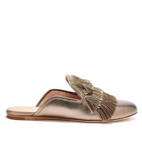 Rachel Zoe | Kaius Fringed Metallic Leather Slippers | 6.5 us | Old gold