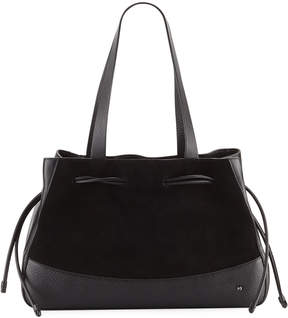 Halston Mixed Media Drawstring Satchel Bag