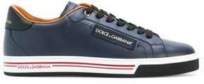 Dolce & Gabbana Dolce E Gabbana Men's Blue Leather Sneakers.