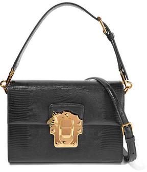 Dolce & Gabbana Lucia Lizard-effect Leather Shoulder Bag - Black