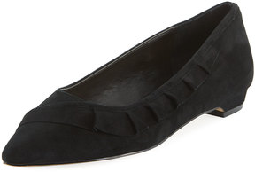 Elie Tahari Pioneer Ruffled Suede Point-Toe Flat