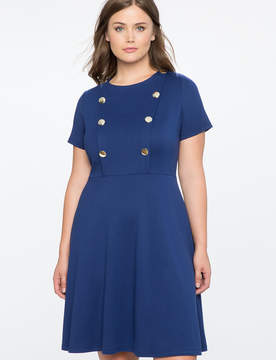 ELOQUII Button Front Fit and Flare Dress
