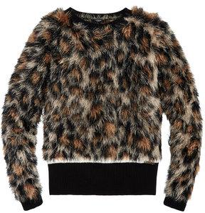 GUESS Faux-Fur Cheetah Sweater, Big Girls (7-16)