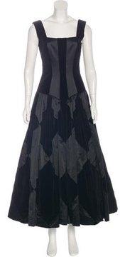 Escada Silk-Accented Velvet Gown