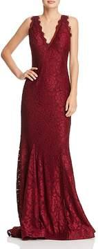 Aqua V-Neck Lace Mermaid Gown