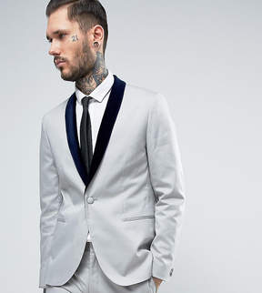 Religion Skinny Suit Jacket with Contrast Velvet Lapel
