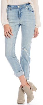 Celebrity Pink Destructed High-Rise Roll-Cuff Mom Jeans