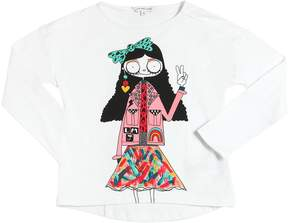 Little Marc Jacobs Girl Printed Cotton Jersey T-Shirt