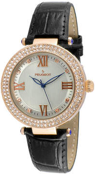 Peugeot Womens Rose Gold Tone And Black T-Bar Leather Strap Watch 3046BK