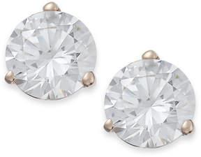 Arabella 14k Rose Gold Earrings, Swarovski Zirconia Stud Earrings (7mm)