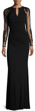 David Meister Sheer-Sleeve Jersey Column Gown, Black