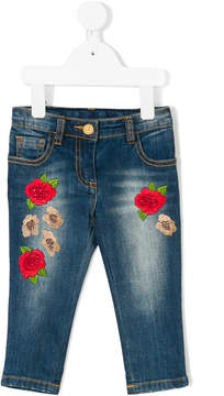Miss Blumarine floral embroidered jeans