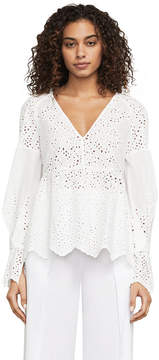 BCBGMAXAZRIA Cambria Cotton Eyelet Blouse