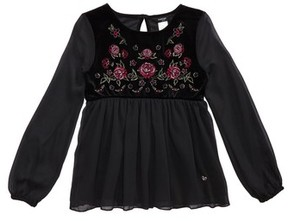 Bebe Girl's Embroidered Mixed Media Top
