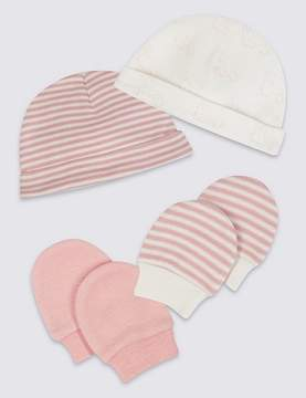Marks and Spencer 4 Piece Pure Cotton Premature Hat & Mittens Set