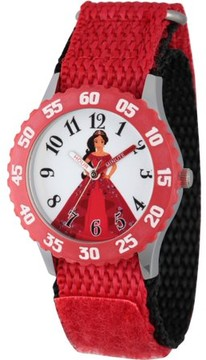 Disney Elena of Avalor, Elena Girls' Stainless Steel Time Teacher Watch, Red Bezel, Red Hook and Loop Nylon Strap with Black Backing