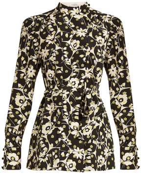 Valentino Circle Flower-print silk crepe de Chine top
