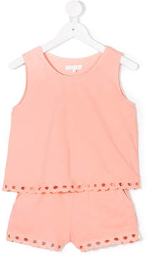 Chloé Kids embroidered hem playsuit