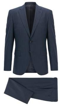 BOSS Hugo Pinstriped Wool Suit, Regular Fit Johnstons/Lenon 40L Dark Blue