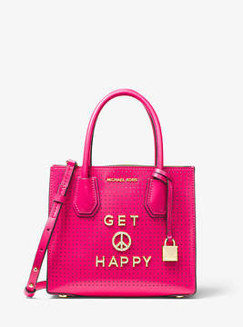 Michael Kors Mercer Get Happy Perforated Leather Crossbody - PINK - STYLE