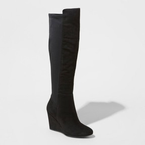 Mossimo Women's Lorena Wedge Tall Boots Black Black