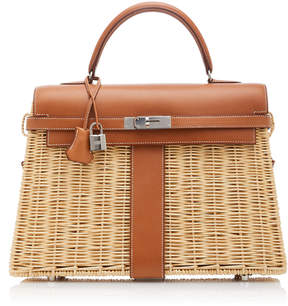 Hermes Vintage by Heritage Auctions 35cm Osier and Fauve Osier Wicker and Barenia Leather Kelly Picnic