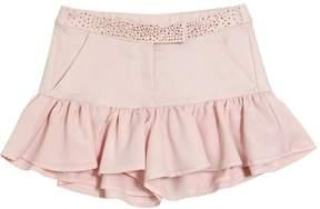 Miss Blumarine Ruffled Cotton Jacquard Shorts