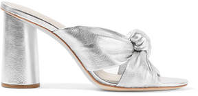 Loeffler Randall Coco Knotted Metallic Leather Mules - Silver