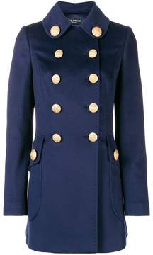 Double-breasted military coat in blue
