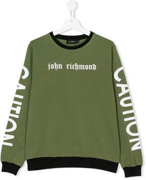 John Richmond Kids TEEN branded Caution sweatshirt