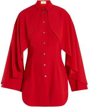 Sara Battaglia Cape-shoulder crepe blouse