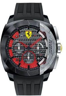 Ferrari Mens Scuderia Aerodinamico Black Stainless Steel Silicone Strap Watch