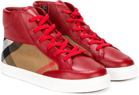 Burberry Kids check panel lace-up hi tops