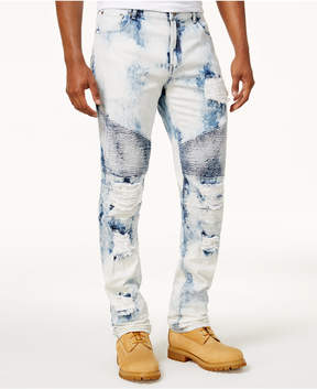 Reason Men's Bleached Ripped Moto Jeans