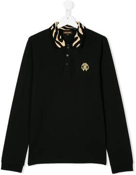 Roberto Cavalli Teen pattern collar polo shirt