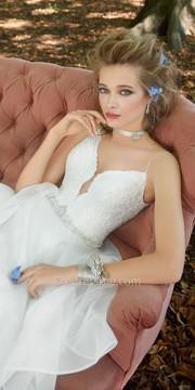 Camille La Vie Plunging V Neck Organza Tiered Wedding Dress