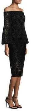 Shoshanna Najlah Lace and Velvet Bell-Sleeve Midi Dress