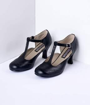 Unique Vintage Black T-Strap Mary Jane Kitten Heels Shoes
