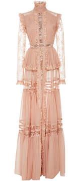 Elie Saab Crepe Georgette Long Sleeve Dress